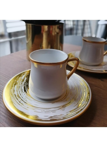 Glore Nisha Beyaz 2'li Türk Kahve Seti Beyaz